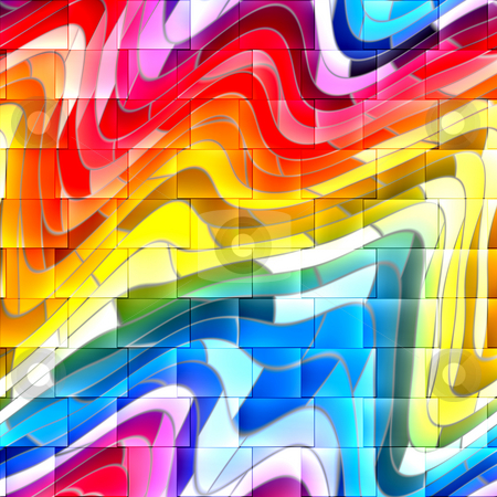 Abstract grafitti background stock photo, Walll with colorful abstract grafitti drawing on tiles by Wino Evertz