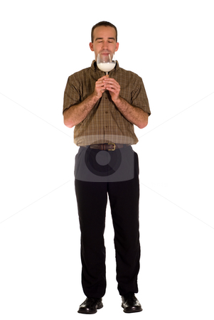 Tasty Milk stock photo, A man enjoying a glass of milk, isolated against a white background by Richard Nelson
