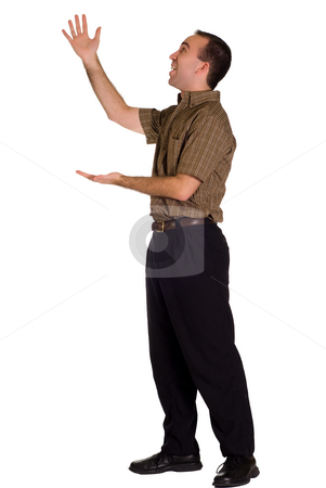 Display stock photo, A man isolated on white showing off something on display by Richard Nelson