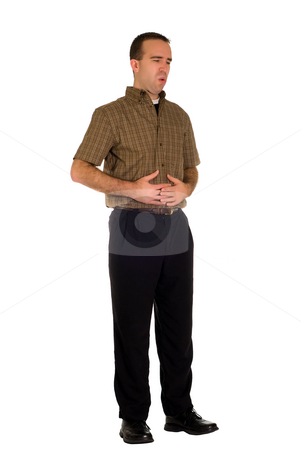 Abdomen Pain stock photo, A man suffering from abdominal pains, isolated against a white background by Richard Nelson