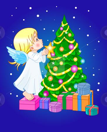 Chrismas cute angel stock vector clipart, Angel putting star on Christmas tree by Anna Vtlichkovsky