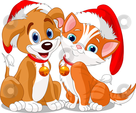Christmas Dog and Cat stock vector clipart, Christmas dog and cat by Anna Vtlichkovsky