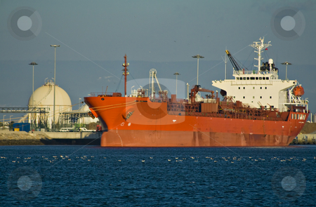 Cargo continer stock photo, Big cargo container ship unloading by Paulo Resende