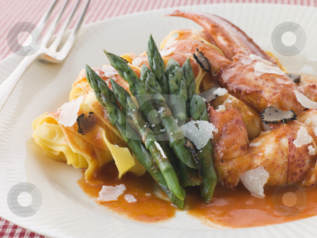 Lobster Tagaliatelli with Asparagus Parmesan and Sliced Truffle stock photo,  by Monkey Business Images