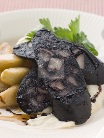 Boudin Noir Caramelised Apples and Pomme Puree with Balsamic stock photo,  by Monkey Business Images