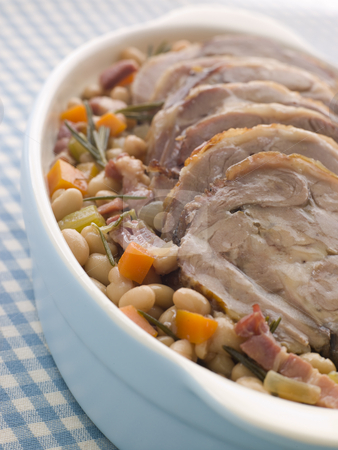 Braised Boneless Shoulder of Lamb with Beans stock photo,  by Monkey Business Images