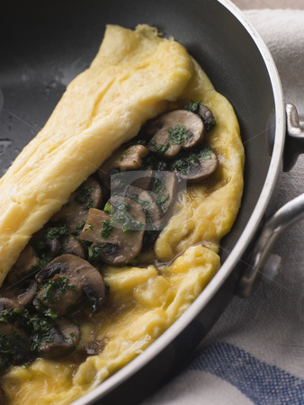 Mushroom Omelette folded in a Omelette Pan stock photo,  by Monkey Business Images