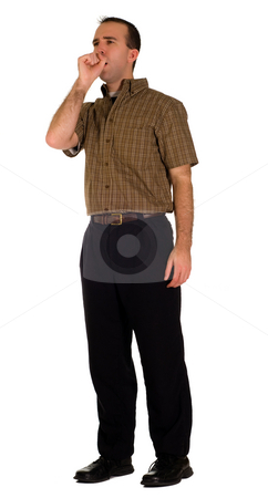 Man Coughing stock photo, Full body view of a male employee coughing, isolated against a white background by Richard Nelson