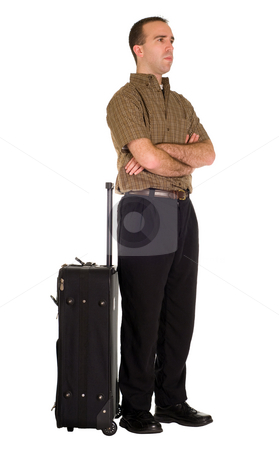 Man Waiting With Luggage stock photo, Full body view of a man waiting by his luggage, isolated against a white background by Richard Nelson