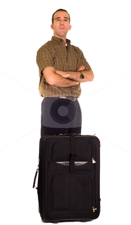 Impatient Man stock photo, An impatient man waiting for something with his luggage, isolated against a white background by Richard Nelson