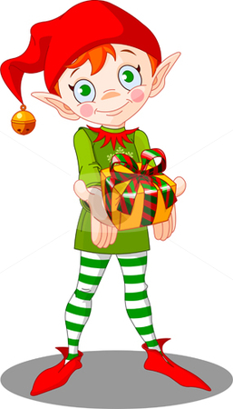 Christmas_elf_gift stock vector clipart, Cute Christmas elf giving gift by Anna Vtlichkovsky