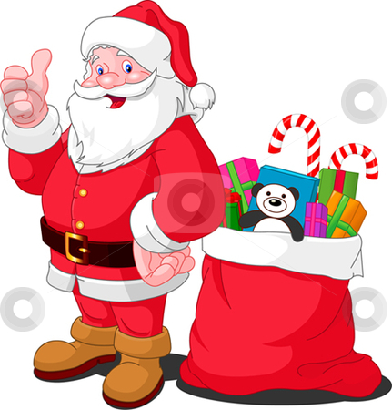 Santa stock vector clipart, Ilustration for Christmas and New Year. Santa Claus. Bag with gifts. Vector by Anna Vtlichkovsky