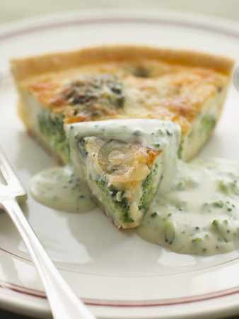 Broccoli and Roquefort Quiche with Broccoli sauce stock photo,  by Monkey Business Images