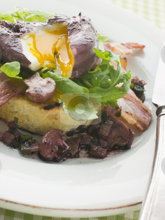 Red Wine Poached Egg with Bacon and Toasted Brioche stock photo,  by Monkey Business Images
