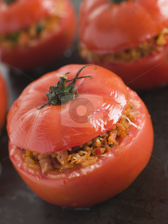 Stuffed Beef Tomato on a Baking Sheet stock photo,  by Monkey Business Images