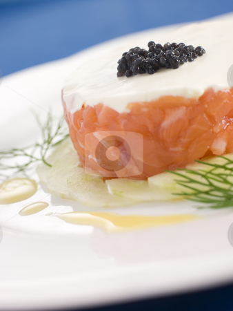 Tartare of Wild Salmon Creme Fraiche Cucumber Caviar and Lemon O stock photo,  by Monkey Business Images