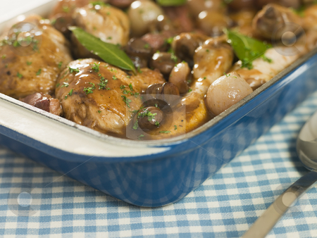 Dish of 'Coq au Vin' stock photo,  by Monkey Business Images