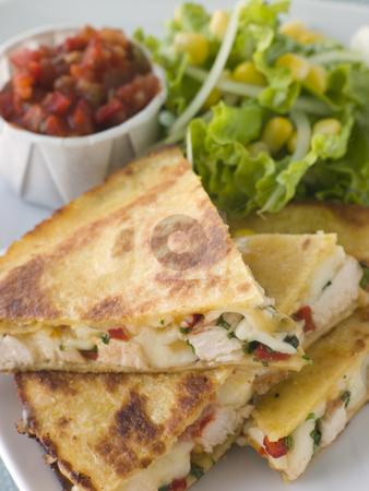 Quesadillas with Cajun Chicken Cheese Tomato Salsa and corn Sala stock photo,  by Monkey Business Images