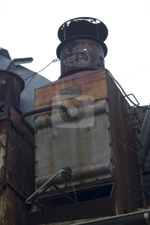 Industrial grunge stock photo, A rusted old roof top refrigeration unit by Stephen Gibson