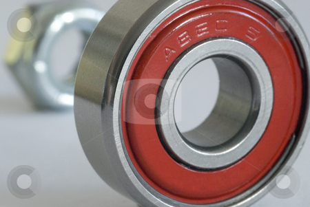 ABEC 5 Bearing stock photo, A nut and roller bearing from a skateboard wheel rated at ABEC 5 (Annular Bearing Engineering Committee) by Stephen Gibson