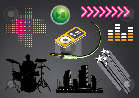 Nightlife and music set stock vector clipart, Vector illustration set of nightlife and music elements. by Anna Violet
