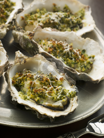 Platter of Oysters Rockefeller stock photo,  by Monkey Business Images