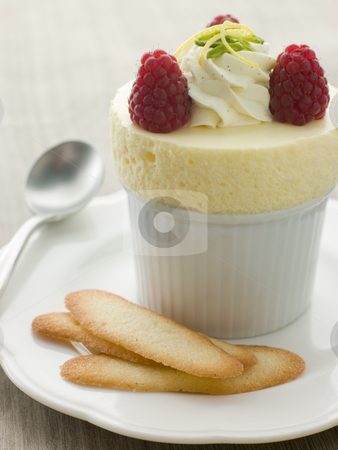 Chilled Lemon Souffle with Langue de Chat Biscuits stock photo,  by Monkey Business Images