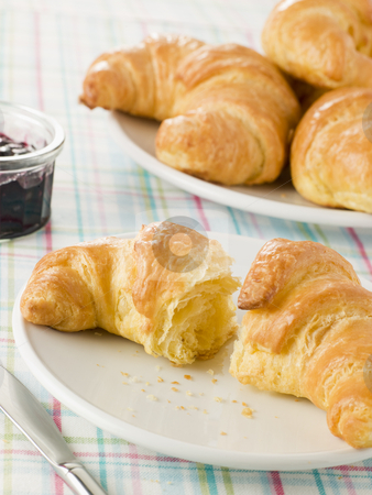 Plate of Croissants with Preserve stock photo,  by Monkey Business Images