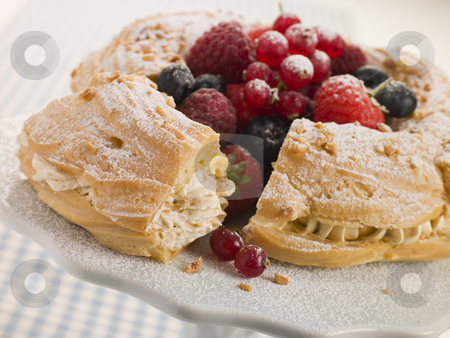 Paris Brest with Mixed Berries and Hazelnuts stock photo,  by Monkey Business Images