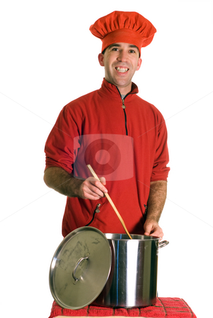 Man Making Soup stock photo, A young man wearing red, making a large pot of soup, isolated against a white background by Richard Nelson