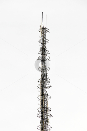 Communication tower 2 stock photo, Communication tower isolated in white background by Jonas Marcos San Luis