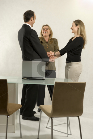 Shaking Hands - Vertical stock photo, Two women and a man shaking hands and smiling next to a desk with a laptop computer on it. Vertically framed photo. by Orange Line Media