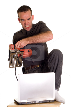 Computer Frustrations stock photo, A man experiencing some computer frustrations and is getting even by Richard Nelson