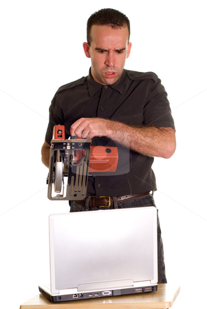 Technical Support stock photo, An angry employee giving some technical support with a power saw by Richard Nelson