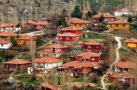 Red houses stock photo, Red houses on Ankara hill by Kobby Dagan