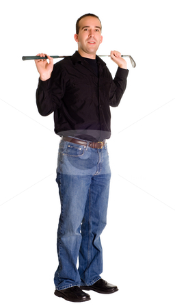 Stretch stock photo, Full body view of a man using a golf club to stretch, isolated against a white background by Richard Nelson