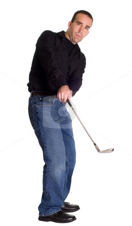 Golfing stock photo, Full body view of a young employee golfing, isolated against a white background by Richard Nelson