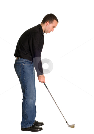 Round of Golf stock photo, Full body view of a man out for a round of golf, isolated against a white background by Richard Nelson