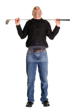 Stretching For Golf stock photo, Full body view of a man stretching before a game of golf by Richard Nelson