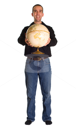 Holding The World stock photo, Full body view of a man holding out the world, isolated against a white background by Richard Nelson