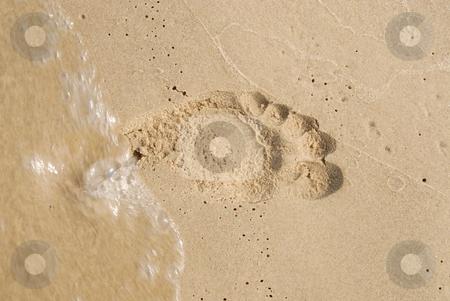 Footprint in the sand on a beach stock photo, Footprint in the sand on a beach. Could signify something temporary by Joanna Szycik