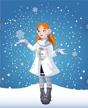 Snow_girl_bg stock vector clipart, The red-haired girl looks at falling snow by Anna Vtlichkovsky