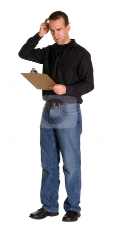 Confused Worker stock photo, Full body view of a confused worker, isolated against a white background by Richard Nelson