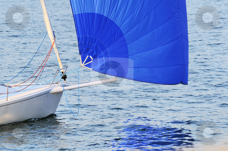 Sailboat stock photo, Detail of a boat bow with a blue spinnaker by Massimiliano Leban