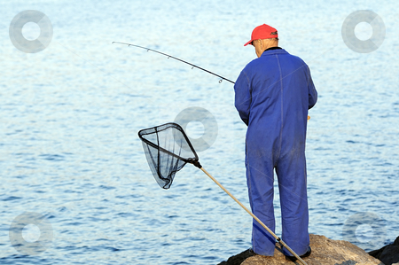 Fisherman stock photo, Fisherman with rod waiting for fishes by Massimiliano Leban