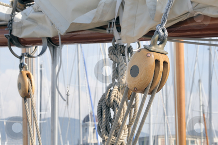 Blocks stock photo, Wooden blockr on a old-fashioned sailboat by Massimiliano Leban