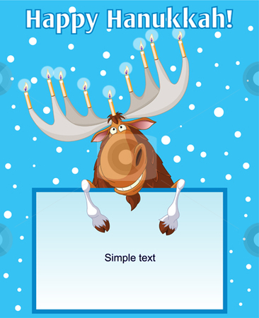 Hannukah_moose stock vector clipart, Hannukah moose holding candles on his horns by Anna Vtlichkovsky