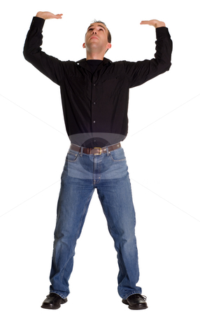 Man Holding Your Sign stock photo, Full body view of a man holding up whatever you decide by Richard Nelson
