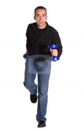 Lunch Break Exercise stock photo, A man taking a jog with a set of dumbells, isolated against a white background by Richard Nelson