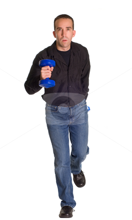 Man Running Towards Camera stock photo, A man dressed in casual wear, running with a set of weights by Richard Nelson